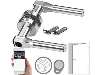 Sicherheits-Türbeschlag, Fingerabdruck, Transponder, App, DIN rechts / Türschloss