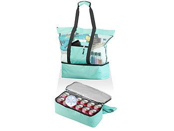 Leichte 2in1-Strand-Netztasche mit Kühlfach und Seitenfach, hellblau / Kühltasche