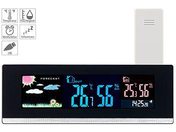 Wetterstation Funk mit Außensensor Wecker Thermometer Hygrometer Schlummern LCD