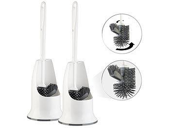 2 WC-Silikon-Bürsten mit Spülrandreiniger & Halter, wechselbarer Kopf / Toilettenbürste