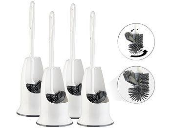 4 WC-Silikon-Bürsten mit Spülrandreiniger & Halter, wechselbarer Kopf / Toilettenbürste