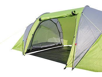 Semptec Zelt mit 2 Schlafkabinen: 4 Personen Tunnelzelt mit