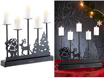 5-armiger Kerzenleuchter mit elektrischen Kerzen und Netzteil / Weihnachtsbeleuchtung