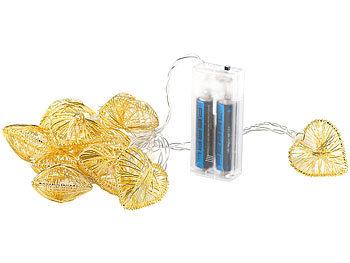 lunartec deko lichterketten herz lichterkette gold batteriebetrieben led kette. Black Bedroom Furniture Sets. Home Design Ideas