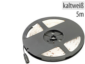 LED Strip Outdoor: Lunartec LED-Streifen LE-500WA, 5 m, kaltweiß, Outdoor IP65