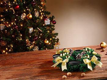 britesta weihnachtskranz adventskranz mit roten led kerzen goldfarben geschm ckt. Black Bedroom Furniture Sets. Home Design Ideas