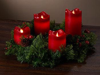 britesta adventskranz rot 4 rote led kerzen mit bewegter flamme. Black Bedroom Furniture Sets. Home Design Ideas