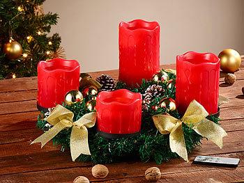 britesta adventskranz mit roten led kerzen goldfarben geschm ckt. Black Bedroom Furniture Sets. Home Design Ideas