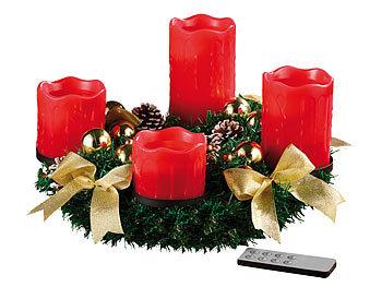 britesta weihnachtskranz adventskranz mit roten led. Black Bedroom Furniture Sets. Home Design Ideas