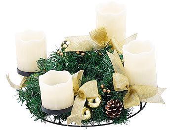 britesta adventkranz adventskranz mit wei en led kerzen goldfarben geschm ckt. Black Bedroom Furniture Sets. Home Design Ideas