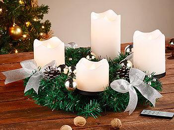 britesta adventskranz mit wei en led kerzen silbern. Black Bedroom Furniture Sets. Home Design Ideas