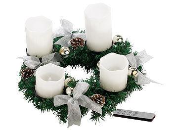 Adventskranz für Teelichter fertig dekoriert Ø 30 cm  inkl 4 Teelichtern