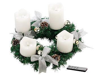 Weihnachtsdeko Led Kerzen.Britesta Weihnachtsgesteck Kranz Adventskranz Silbern 4 Weiße Led