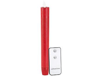 LED-Stabkerze mit beweglicher Flamme und Fernbedienung, rot / Led Kerzen