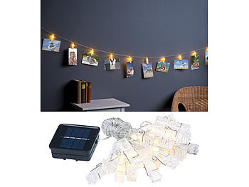 lunartec led solarlichterkette led foto clips lichterkette mit 40 klammern solar betrieben 10. Black Bedroom Furniture Sets. Home Design Ideas