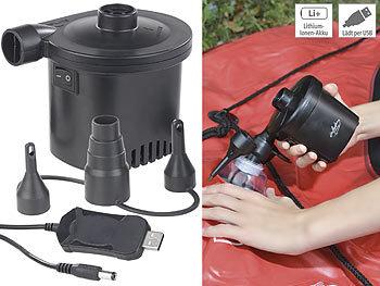 Akku-Luftpumpe mit 3 Ventil-Aufsätzen und USB-Ladekabel, 200 l/Min. / Akku Luftpumpe