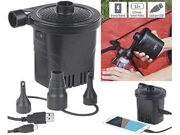 2in1-Akku-Luftpumpe mit Powerbank-Funktion & USB-Ladekabel, 250 l/Min / Powerbank