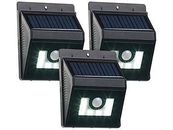 Lunartec Solarwandleuchten: 3er Set Solar LED Wandleuchten mit Bewegungsmelder, Dimm Funktion (Solar Wand Leuchte LED)