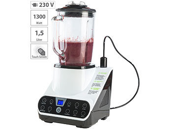 Vakuum Mixer: Rosenstein & Söhne Standmixer mit Vakuumier-Funktion & LED-Touch-Display, 1,5 l, 1.300 W