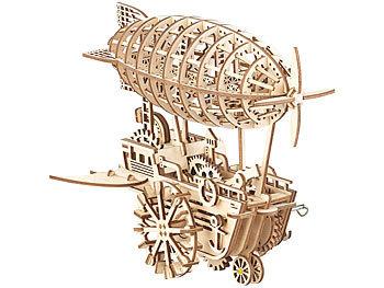 Simulus Aufziehbares Holz-Luftschiff im Steampunk-Stil, 349-teiliger Bausatz Simulus 3D-Holz-Puzzles