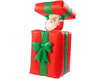 Selbstaufblasender XXL Santa im Geschenk, 150 cm, animiert / Weihnachtsdeko