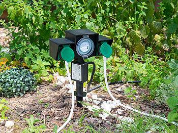 2er Gartensteckdose Outdoor Steckdose Außensteckdose Garten Zeitschaltuhr Analog