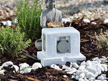 royal gardineer steckdosenstein 4 fach garten steckdose in stein optik spritzwasserschutz ip44. Black Bedroom Furniture Sets. Home Design Ideas