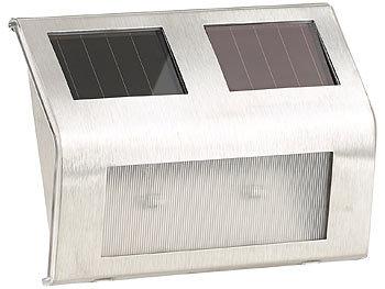 lunartec led solarlampen solar wandleuchte f r den au enbereich edelstahl 16 lm 0 24 w led. Black Bedroom Furniture Sets. Home Design Ideas
