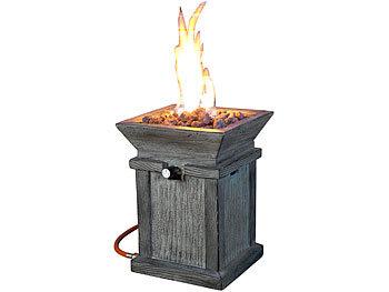 Kompaktes Gas-Heiz- & Dekofeuer für Terrasse und Garten / Feuerschale