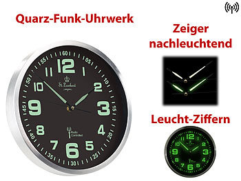 st leonhard funk wanduhr mit quarz uhrwerk nachleuchtenden ziffern und zeigern. Black Bedroom Furniture Sets. Home Design Ideas