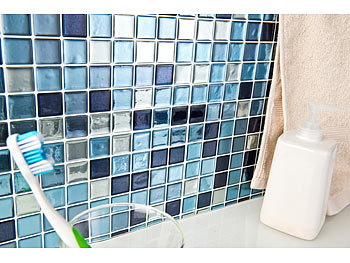 infactory 3d klebefliesen selbstklebende 3d mosaik fliesenaufkleber aqua 26 x 26 cm 3er set. Black Bedroom Furniture Sets. Home Design Ideas