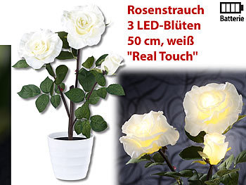 lunartec led rose led rosenstrauch real touch mit 3 led bl ten 50 cm wei kunstblumen. Black Bedroom Furniture Sets. Home Design Ideas