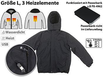 Beheizbare Outdoor-Jacke mit USB-Anschluss, 3 Heizelemente, Grösse L / Heizjacke
