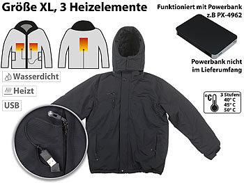 Beheizbare Outdoor-Jacke mit USB-Anschluss, 3 Heizelemente, Grösse XL / Heizjacke