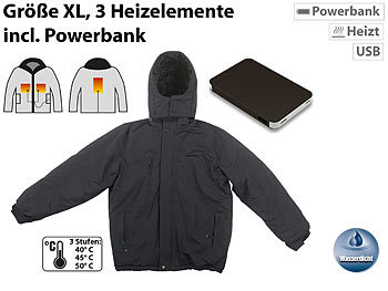 Beheizbare Outdoor-Jacke mit Powerbank (8.000 mAh), Grösse XL / Heizjacke