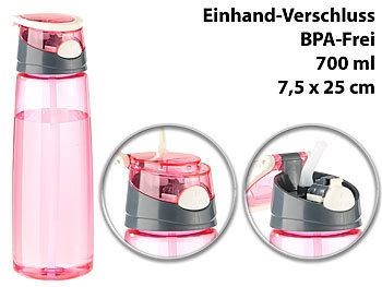 BPA-freie Kunststoff-Trinkflasche mit Einhand-Verschluss, 700 ml, pink / Trinkflasche
