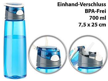 BPA-freie Kunststoff-Trinkflasche mit Einhand-Verschluss, 700 ml, blau / Trinkflasche