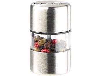 Mini-Salz-/Pfeffermühle, Edelstahl, Keramikmahlwerk, Ø 3 cm / Gewürzmühle