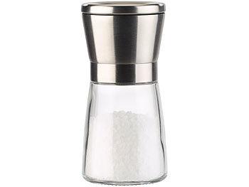 Keramik-Mahlwerk Edelstahl Manuell Salz-//Pfeffermühle 2er-Set NEU Glas