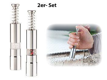 2er-Set manuelle Salz- & Pfeffer-Mühlen mit Druckknopf-Bedienung, Alu / Pfeffermühle