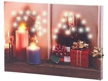 leinwandbilder wandbild weihnachtliches fenster mit led. Black Bedroom Furniture Sets. Home Design Ideas