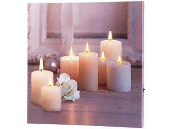 infactory wandbild kerzen mit rose mit flackernder led. Black Bedroom Furniture Sets. Home Design Ideas