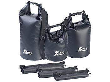 3er-Set Wasserdichte Packsäcke aus LKW-Plane, 5/10/20 Liter, schwarz / Packsack