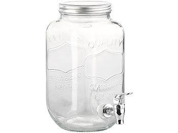 GETRÄNKESPENDER mit Zapfhahn 4 L Glas Wasserspender Glaskanne Saftspender