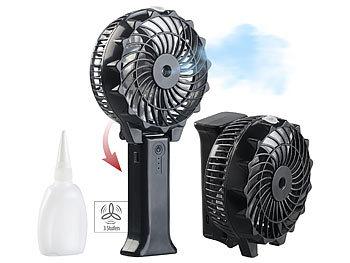 PEARL Klappbarer 2in1-Akku-Hand- & Tisch-Ventilator mit Nebler-Funktion, USB PEARL Klappbare USB-Akku-SprÃh-Ventilatoren