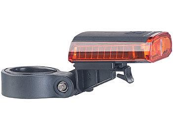 PEARL Velolicht: Cree LED Fahrrad Rücklicht mit Akku, USB