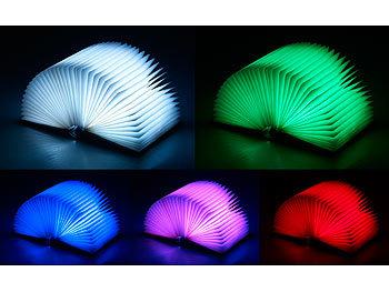 Lunartec Buchlampe: Klappbare LED Stimmungsleuchte im Buch