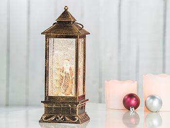 infactory Weihnachtslaterne: LED Laterne mit Schneewirbel