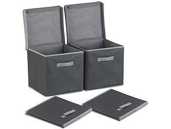 Fabulous PEARL Faltbox: 2er-Set Aufbewahrungsboxen mit Deckel, faltbar PJ26