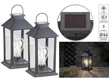 Laterne mit LED Dekolaterne für Balkon Garten und als Grablicht